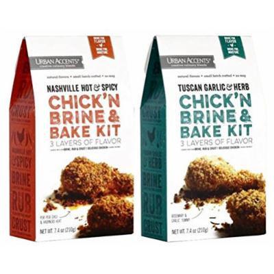 Urban Accents Chick'N Brine & Bake Kit 2 Flavor Variety Bundle: (1) Urban Accents Nashville Hot & Spicy Chick'N Brine & Bake Kit, and (1) Urban Accents Tuscan Garlic & Herb Chick'N Brine & Bake Kit, 7.4 Oz. Ea. (2 Total)