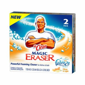 Mr. Clean Magic Eraser Foaming Cleaner Cleaning Pads, Febreze Fresh Scent Citrus & Light, 2-Count Boxes (Pack of 6)