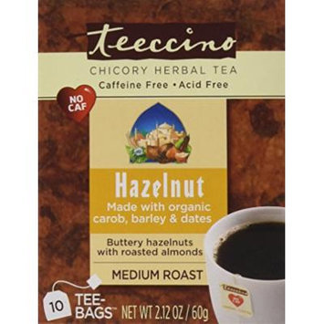Teeccino Variety Pack (Vanilla Nut and Hazelnut) Chicory Herbal Tea Bags, Caffeine Free, Acid Free, 10 Count (Pack of 6)