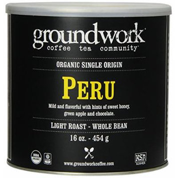 Groundwork Coffee, Organic Peru, Whole Bean, 16-Ounce Cans (Pack of 2)
