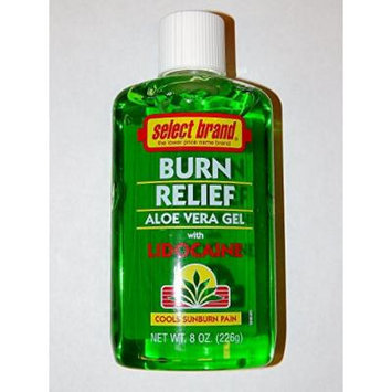 Select Brand BURN RELIEF Aloe Vera Gel with Lidocaine 8oz