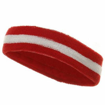 Striped Cotton Terry Cloth Moisture Wicking Head Band (Red/White)