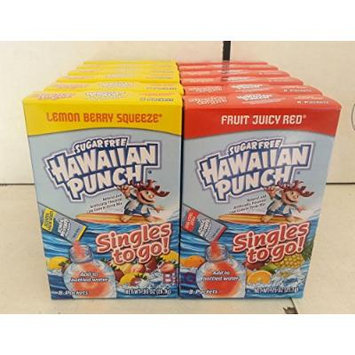 Hawaiian Punch Soft Drink Mix Combo (Lemon Lime Splash,Fruit Juicy Red)