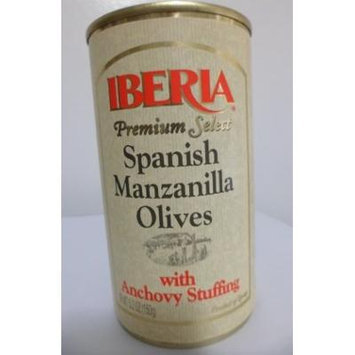 Iberia Premium Select Spanish Manzanilla Olives with Anchovy Stuffing (Pack of 6)