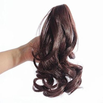 HOT Womens Hairpiece Wavy Curly Claw Hair Ponytail Clip-on Short Hair Extensions (Dark Brwon)