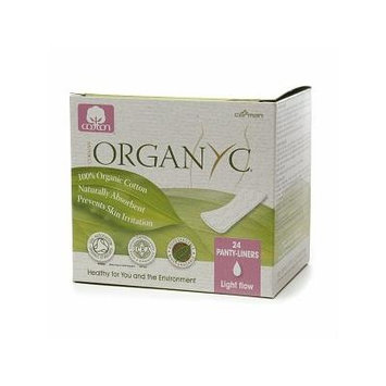 ORGANYC Hypoallergenic 100% Organic Cotton Panty Liners, 24-count Boxes (Pack of 2)