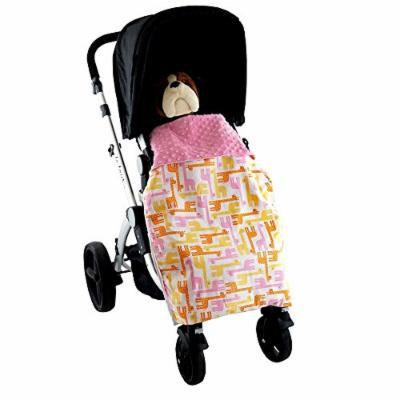 Stroller Blanket Giraffes Pink - No-Fall Universal Stroller Blanket, Sac-like Design Keeps Warm Air In, Handmade in USA.