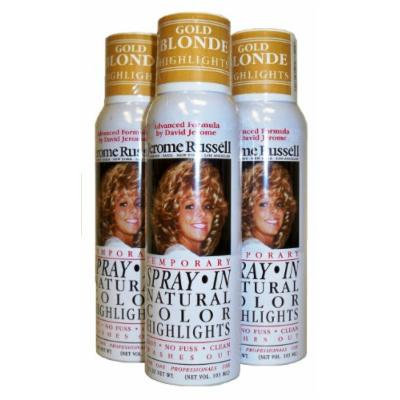 Jerome Russell Hair Color Spray Highlights - Shampoos Out - 3 Cans (Gold Blonde)
