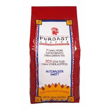Puroast Low Acid Coffee Nutcracker Sweet Whole Bean, 2.5 Pound Bag