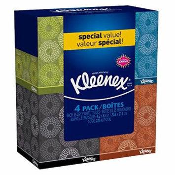 Kleenex Facial Tissue - 55 2-ply Box, 4 Pack,Designs may vary