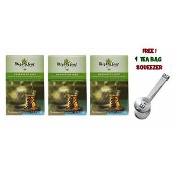 Mighty Leaf Tea ,Green Marrakesh Mint ,(with FREE Tea Bag Squeezer) (3 Pack)