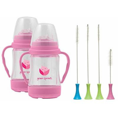 Green Sprouts 4 Ounce Glass Sip 'n Straw Cup, 2 Pack with Munchkin Cleaning Brush Set, Pink