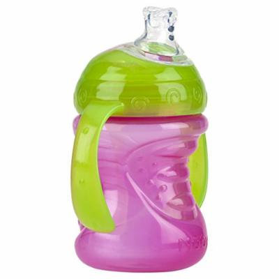 Nuby 2 Handle Super Spout No Spill Cup, Pink/Green, 8 Ounce