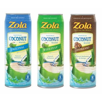 Zola Coconut Water Variety Pack, 17.5 Ounce (Pack of 12)