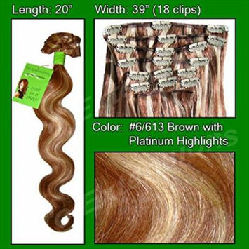 Pro Extensions Hair Extensions #6/613 Chestnut Brown w/ Platinum Highlights - Body Wave