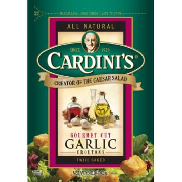 Cardini's Gourmet Cut Croutons, Garlic, 5-Ounce Bags (Pack of 12)