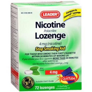 Leader Nicotine Lozenges 4 mg. Mint, 72 ct. (Compared to Nicorette Lozenge)