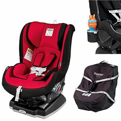 Peg Perego Primo Viaggio Infant Convertible Car Seat w Car Seat Travel Bag & Cup Holder (Rouge)