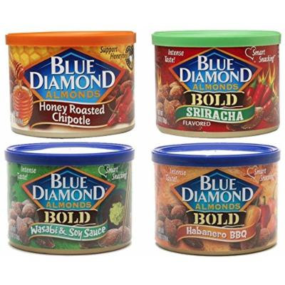 Blue Diamond® Bold Hot Spicy Almonds Bundle Chipotle,Sriracha,Habanero And Wasabi Variety