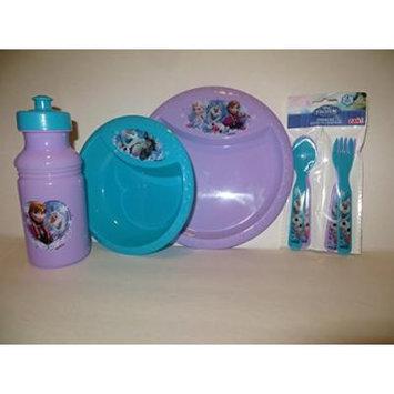 Disney Frozen Ana Elsa Olof Mealtime Set Zak (5 Pieces) BPA Free Plate, Bowl, Water Bottle, 2 Forks, 2 Spoons Gift Set