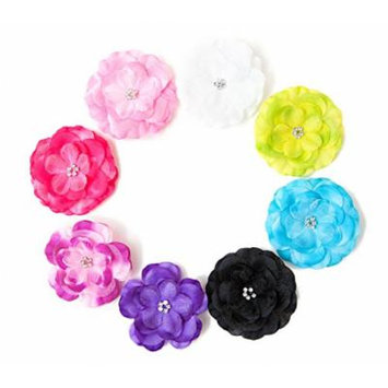 Ema Jane -Shimmery Chiffon Laced Diamond Jeweled Center Flower Hair Clips (8 Pack)