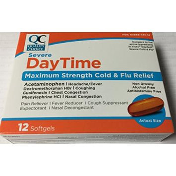 PACK OF 5 - Quality Choice Severe Daytime Max Strength Cold and Flu Relief (DAYQUIL) 12 softgels