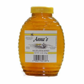 Wildflower Honey Beehive Bottle, 16 oz - Grade A, Natural, Raw Honey - by Anna's Honey (Pack of 4)