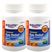 Equate Extra Strength 125 mg Gas Relief, 72-softgels Bottle (Pack of 2)