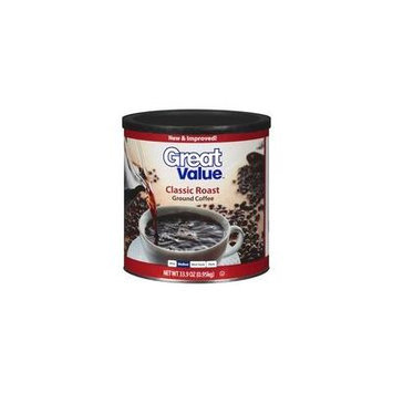 Great Value Classic Roast Medium Ground Coffee, 33.9 oz(Pack of 4)