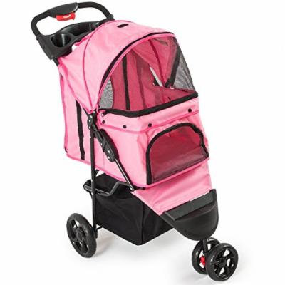 New Deluxe Folding 3 Wheel Pet Stroller Dog Cat Carrier w Cup Holder Tray -Pink