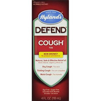 Hyland's Defend Non-Drowsy Natural Cough Syrup, Natural Relief of Dry, Tickling, and Moist Coughs, 4 Ounce (6 Pack)