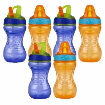 Nuby 10 Ounce Flip-And-Tip Hard Straw Cup - 6 Pack (Purple/Orange)