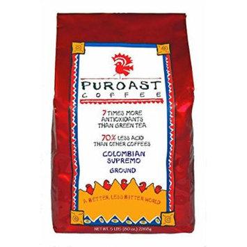 Puroast Low Acid Coffee Colombian Supremo Blend Drip Grind, 5-Pound Bag