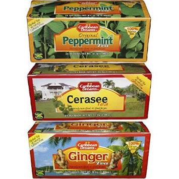 Caribbean Dreams Tea Collection - Carton of Ginger Tea, a Carton of Cerasse Tea Plus a Carton of Peppermint Herbal Tea - Bundle of Three 24 Count Packs