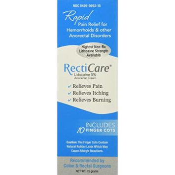 Recticare Anorectal Lidocaine 5% Numbing Cream .5 Oz - With Finger Cots (Maximum Strength Local Anesthetic, To Numb For Fast Pain Relief)