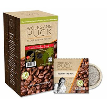 Wolfgang Puck Coffee, Fair Trade Organic South Pacific Dark, 9.5 Gram Pods-18-Count (Pack of 6)