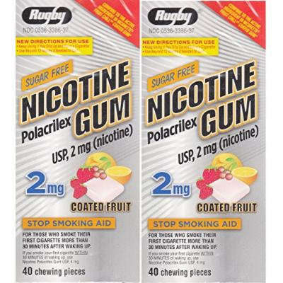 Nicotine Gum 2 mg Coated Fruit Flavor Sugar Free Generic for Nicorette Gum 40 Pieces per Box PACK of 2 Total 80 Chewing Pieces