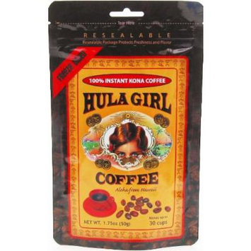 Hula Girl 100% Kona Coffee Freeze Dried Instant 1.75 oz Bag (Pack of 6)