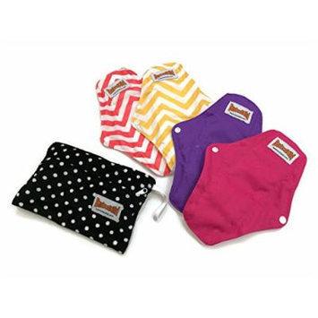 BubuBibi 2 Regular 2 Maxi Bamboo Mama Cloths Menstrual Pads FREE Bag TRAVEL PACK
