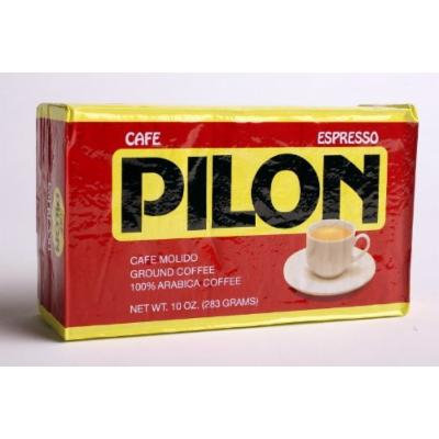 4 Pack of 10oz Cafe Pilon Vacuum Pack Roasted Ground Coffee & 6cup Imusa Stovetop Espresso Coffee Maker (100% Arabica ground coffee, 10oz vacuum pack bricks)