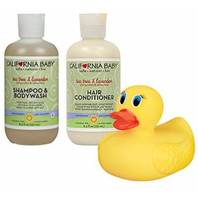 California Baby Tea Tree & Lavender Shampoo & Body Wash with Conditioner & Heat Sensing Bath Duck