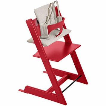 Stokke - Tripp Trapp - Red Chair, Red Baby Set, Grey Loom Cushion
