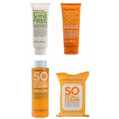 Formula 10.0.6 Facial Skin Care Set for Acne Prone Skin - Bundle of 4 Items - Cleanser, Moisturizer, Mud Mask & Wipes