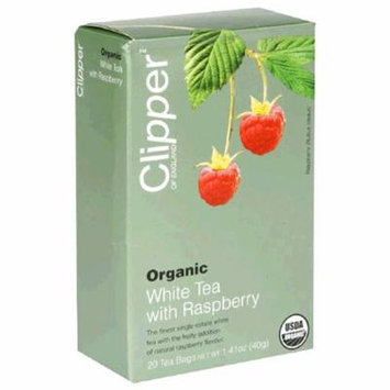 Clipper of England Organic White Tea with Raspberry, 20-Count Tea Bags (Pack of 6)