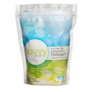 Savvy Green 108 Standard Wash Eco Clean Laundry Detergent Powder, 2.73 Lbs