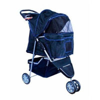 New Deluxe Folding 3 Wheel Pet Stroller Dog Cat Carrier w Cup Holder Tray -Black