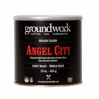 Groundwork Coffee, Organic Angel City, Whole Bean, 16 Ounce Cans (Pack of 2)