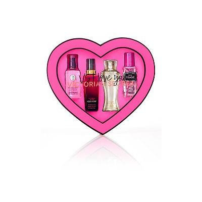 Victoria Secret Love You Gift Set with Very Sexy, Noir Tease, Dream Angel Heavenly and Bomshell Body Mist on Heart Shape Box