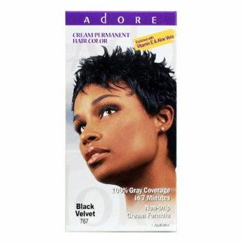 Adore Cream Permanent Hair Color 767 Black Velvet enriched with Vitamin E & Aloe Vera 1 application