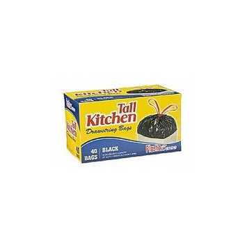 Trash Bags, Drawstring, Tall Kitchen Garbage Bags, 13 Gal, Black, 40 Count